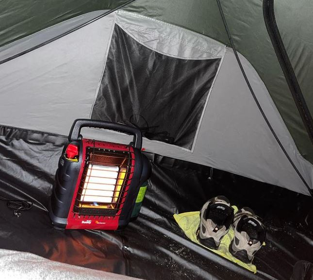 Buddy Heater In Canvas Tent